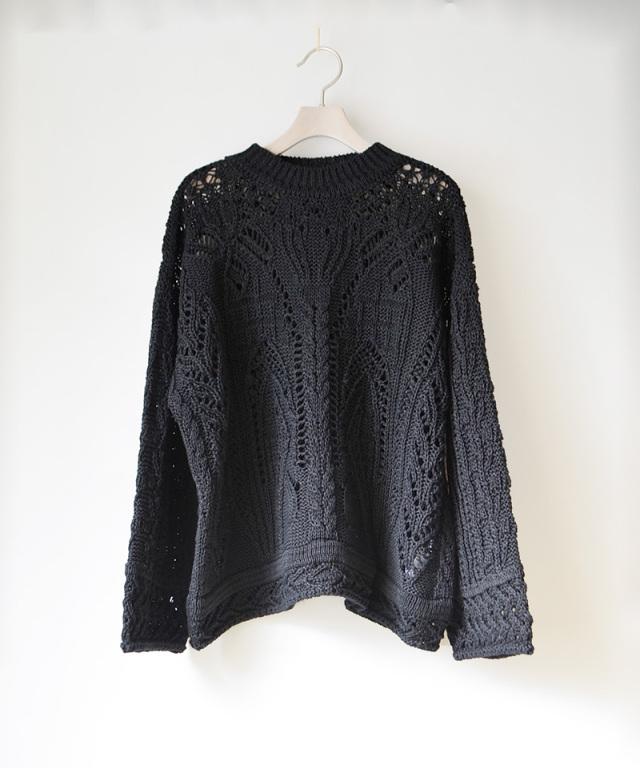 mame kurogouchi Curtain Lace Pattern Knitted Pullover BLACK