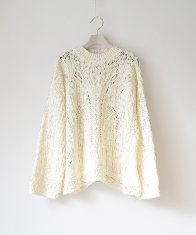 mame kurogouchi Curtain Lace Pattern Knitted Pullover