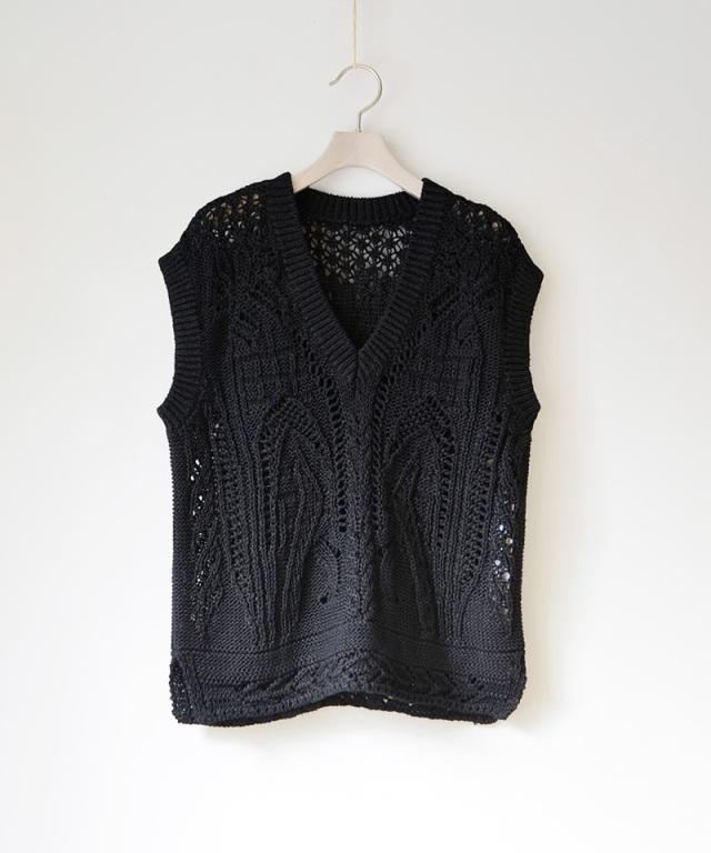 mame kurogouchi Curtain Lace Pattern Knitted V Neck Vest BLACK