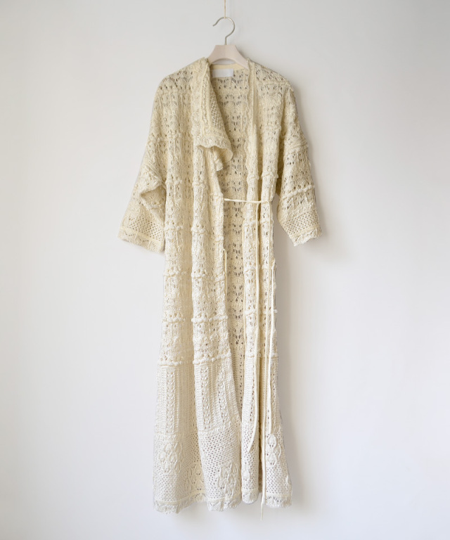 mame kurogouchi Floral Watermark Wrap-Front Knitted Dress WHITE