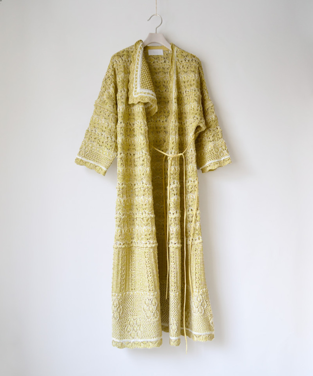 mame kurogouchi Floral Watermark Wrap-Front Knitted Dress YELLOW