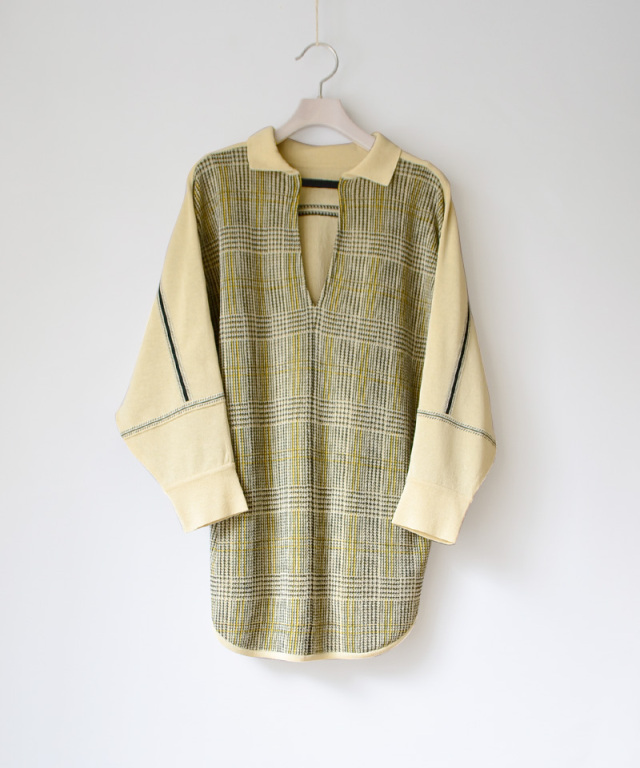 TAN CHECKED LINE BLOUSE