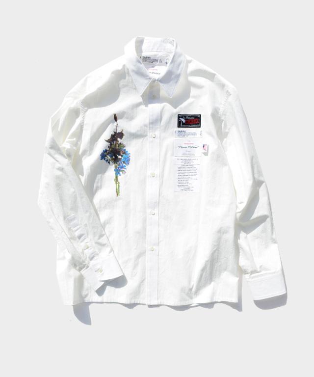 DAIRIKU Flower Washed L-S Dress Shirt White