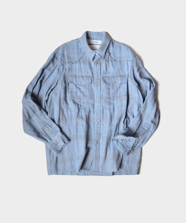 DAIRIKU Double Gauze Check Western Shirt Sky
