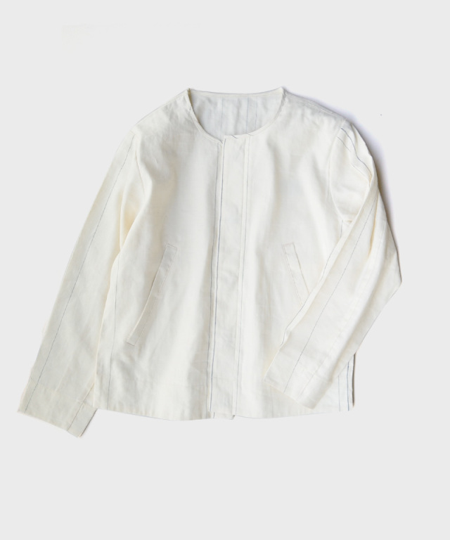QUILP No Collar Jacket WHITE CHECK