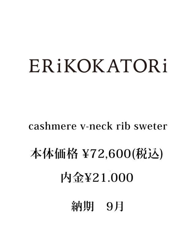 ERiKO KATORi cashmere v-neck rib sweter