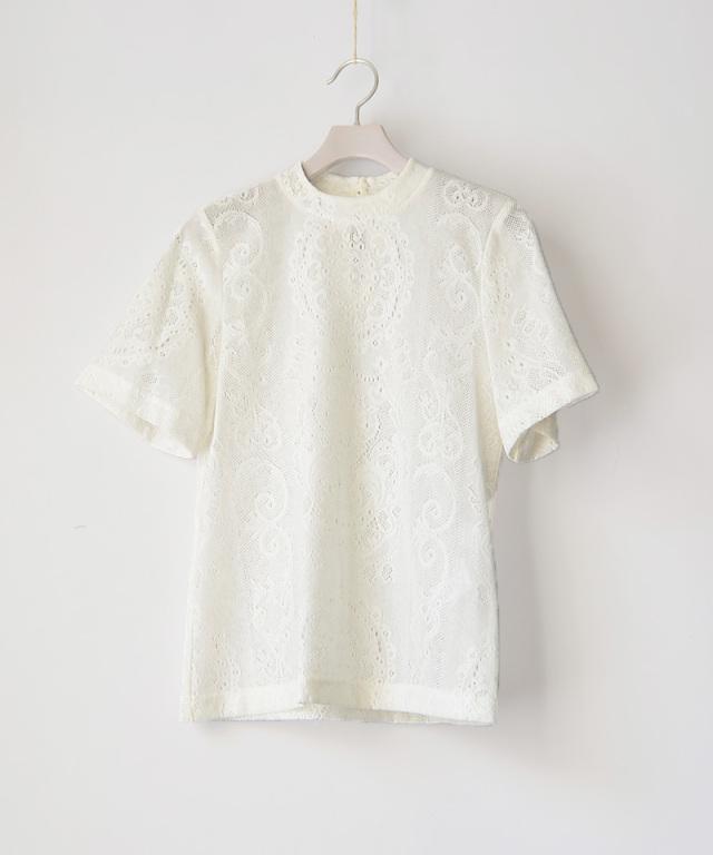 mame kurogouchi JS004  Curtain Lace Jacquard Jersey Top WHITE