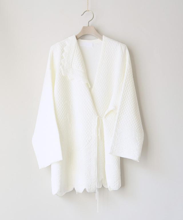mame kurogouchi Scallop Cut Knitted Jacket  WHITE - Ladys