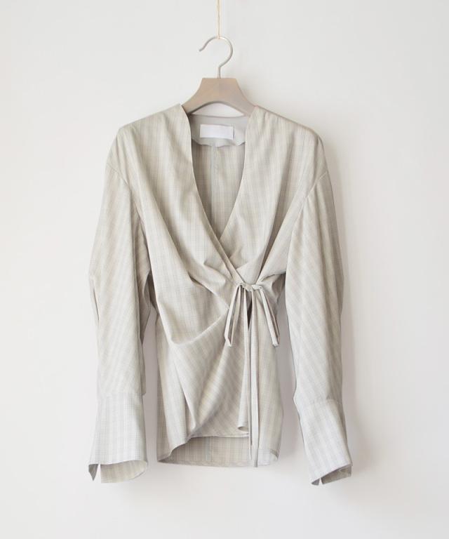 mame kurogouchi SH039 Summer Wool Plaid Warp-Front Top GREY
