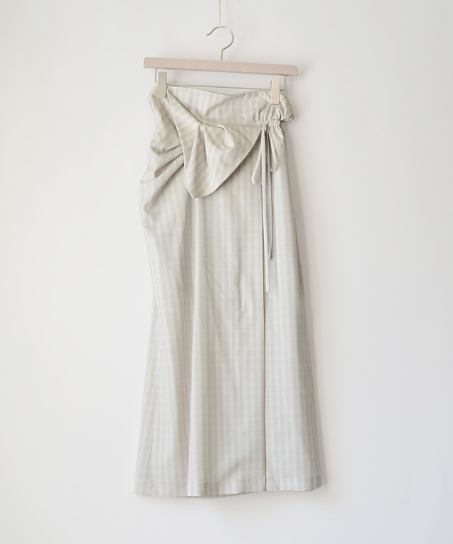 mame kurogouchi SK040 Summer Wool Plaid Front Slit Skirt