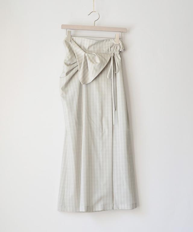 mame kurogouchi SK040 Summer Wool Plaid Front Slit Skirt GREY