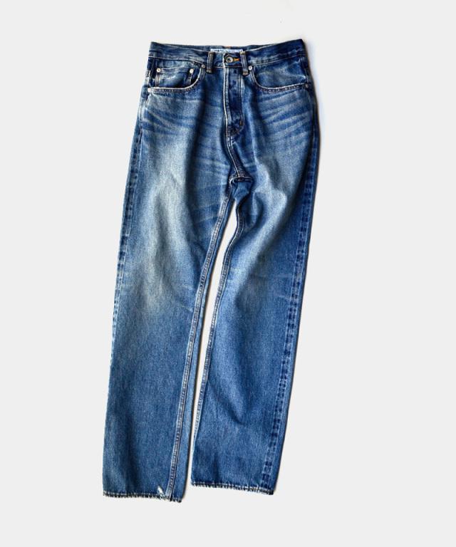 DAIRIKU Leather Patch Work Slim Denim Pants Indigo