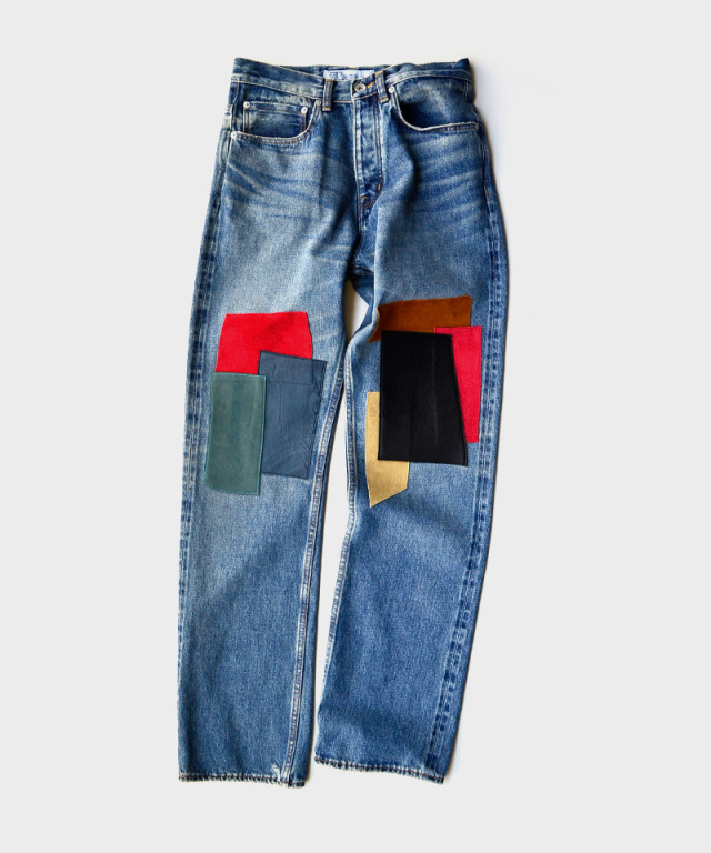 DAIRIKU Leather Patch Work Slim Denim Pants