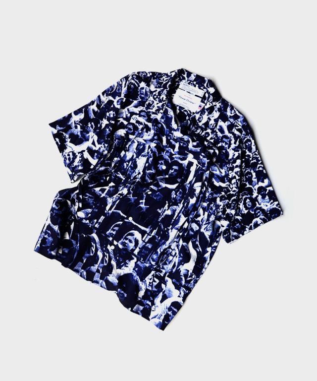 DAIRIKU WOODSTOCKOpen Collar Shirt Navy