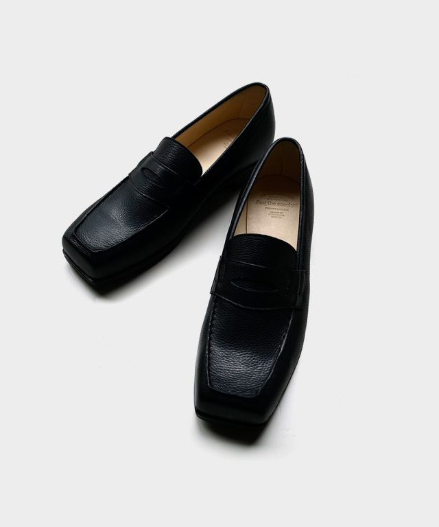 foot the coacher SQUARE LOAFER BKEMBOSS