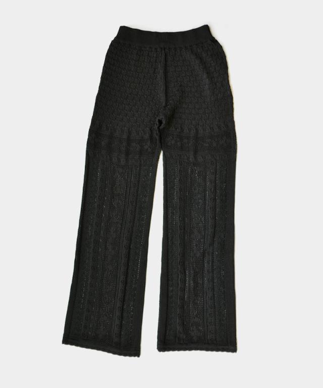 mame kurogouchi Traditional Curtain Lace Knitted BLACK