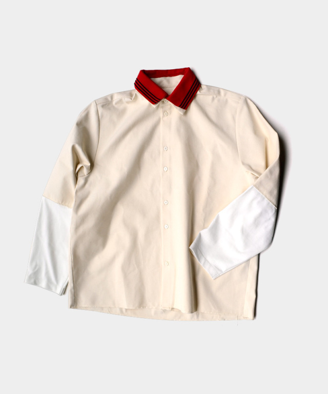 CAMIEL FORTGENS RESEARCH EXTENDED SLEEVE SHIRT CANVAS/JERSEY OFF-WHITE/RED