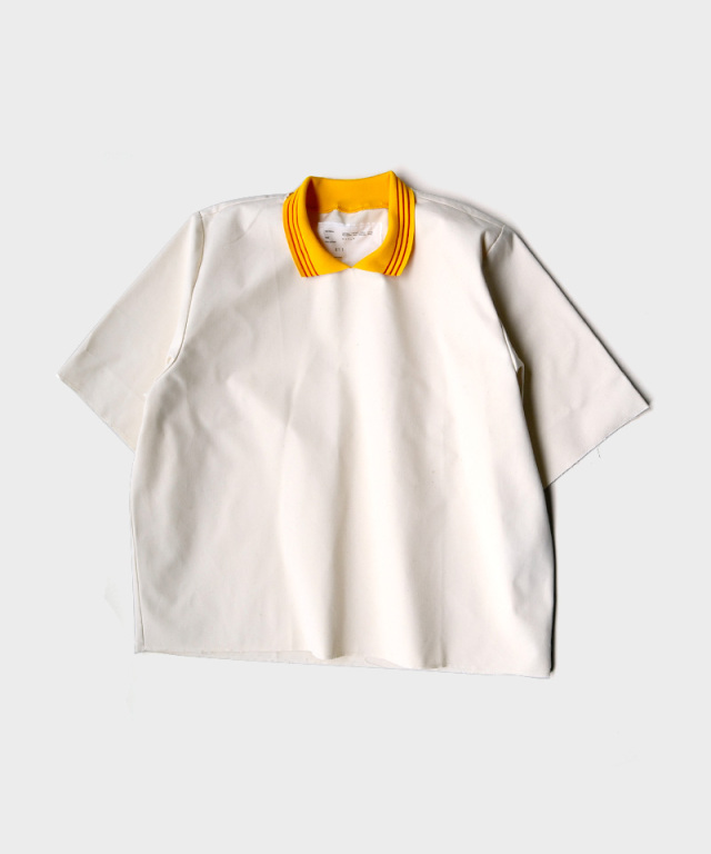 CAMIEL FORTGENS POLO TEE YELLOW COLLAR CANVAS OFF-WHITE