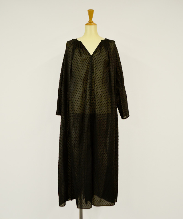 KALANCHOE SHEER JAQCUARD FRONT OPEN DRESS