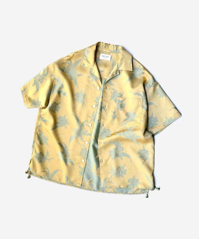 beautiful people aloha jacquard open-necked shirt yellow