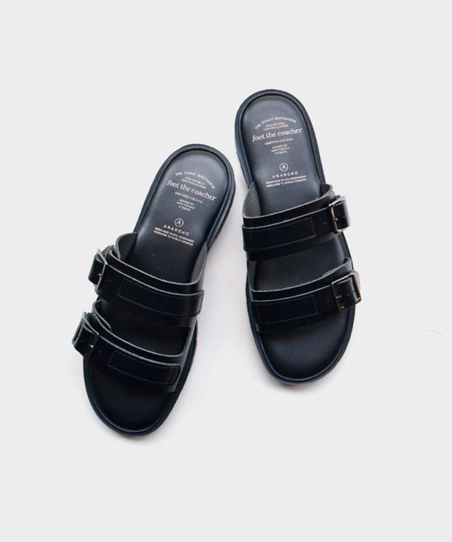 foot the coacher SS SANDALS TWO BELTS BLACK