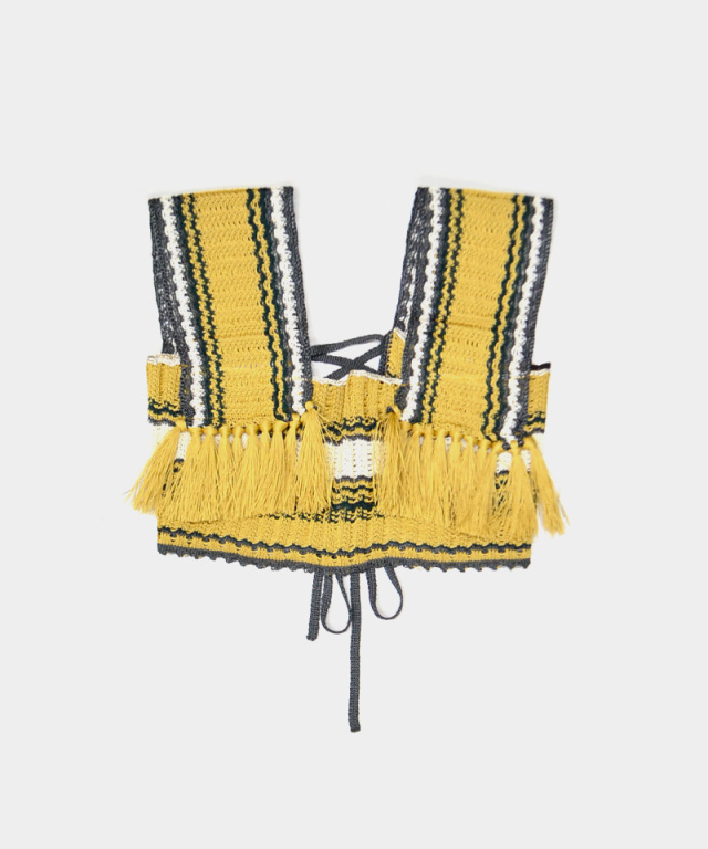 LENZ knit bustier yellow