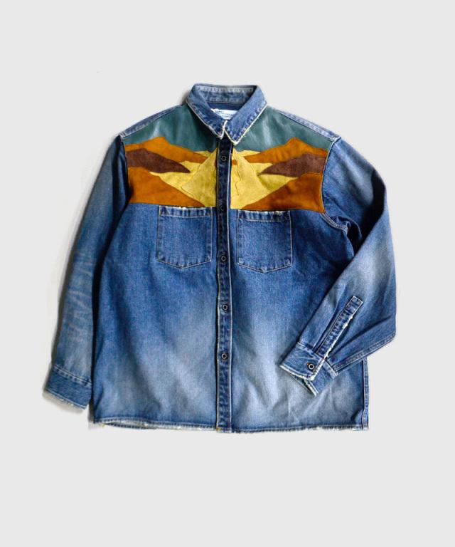 DAIRIKU Leather Patch Work Denim Shirt Indigo