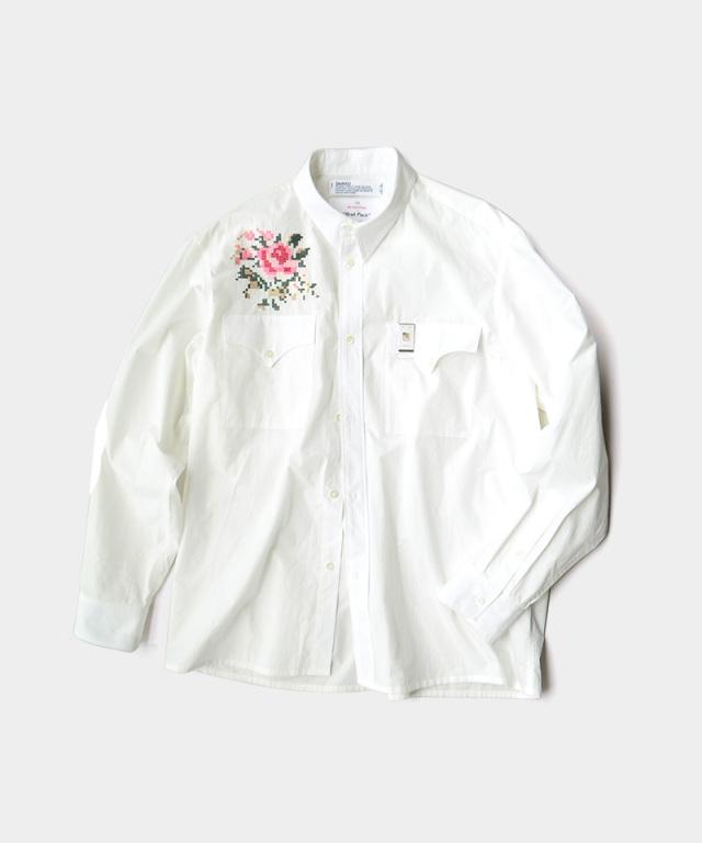 DAIRIKU Flower Cross Eim Shirt with Money Clip Washer White