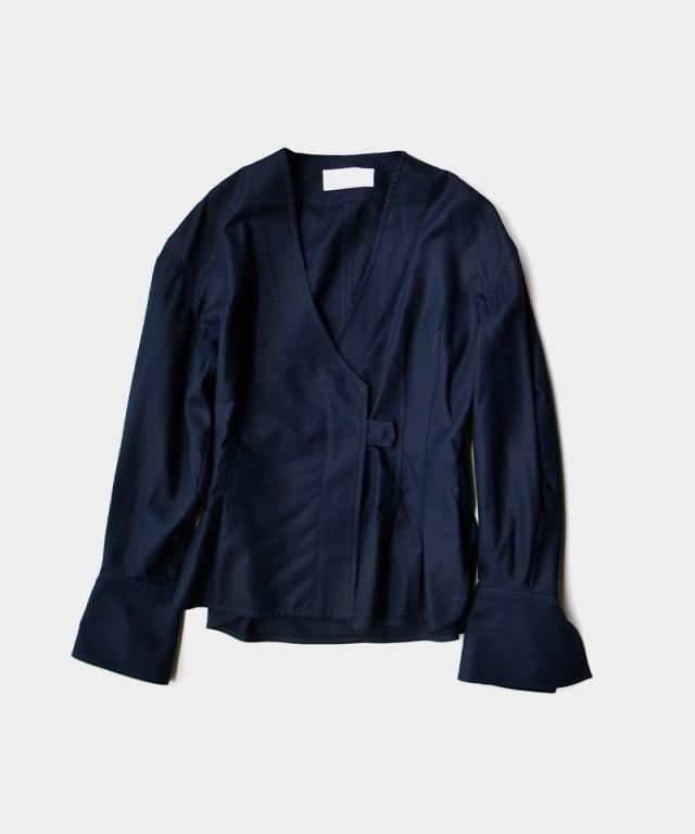 mame Cotton Double Cloth Top NAVY