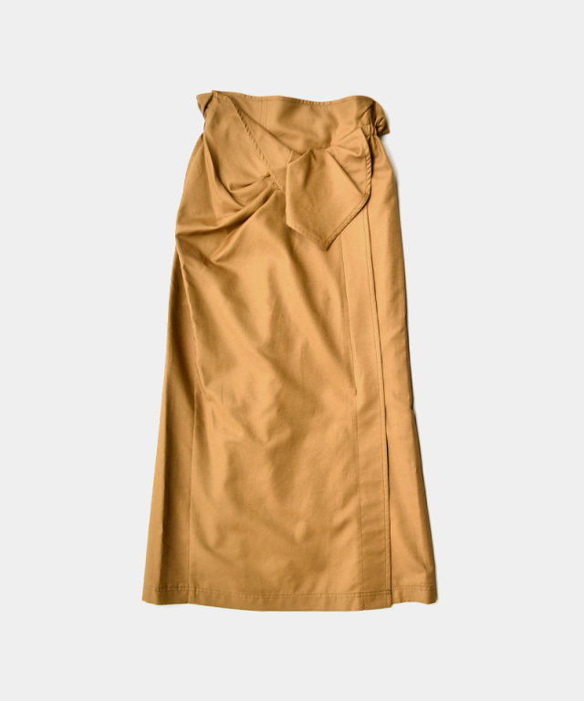 mame Cotton Double Cloth Skirt BROWN