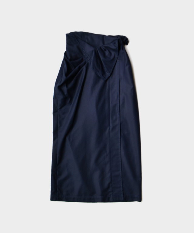 mame Cotton Double Cloth Skirt NAVY