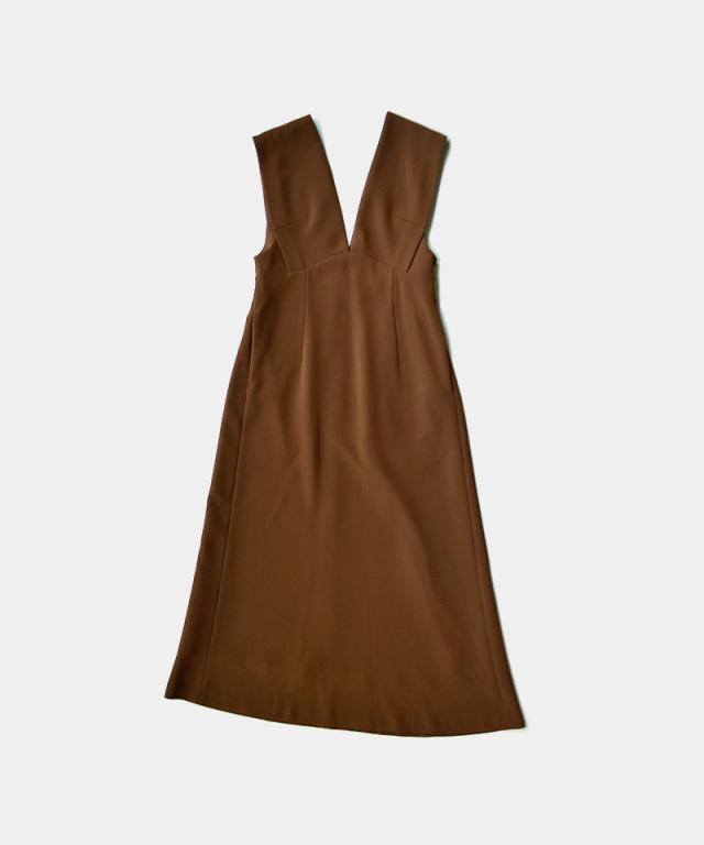 mame V Neck Sleeveless Dress BROWN