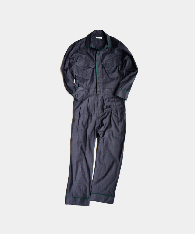 MATSUFUJI Flannel Check Jumpsuits CHARCOAL