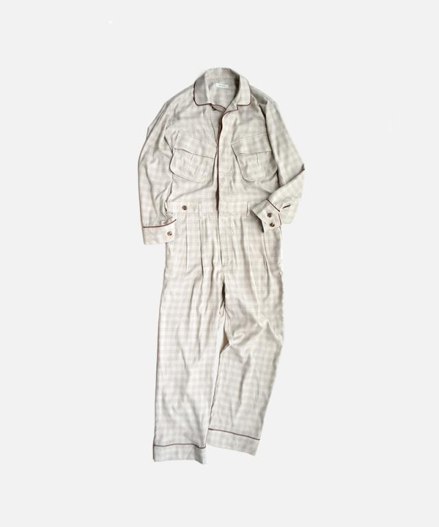 MATSUFUJI Flannel Check Jumpsuits BEIGE