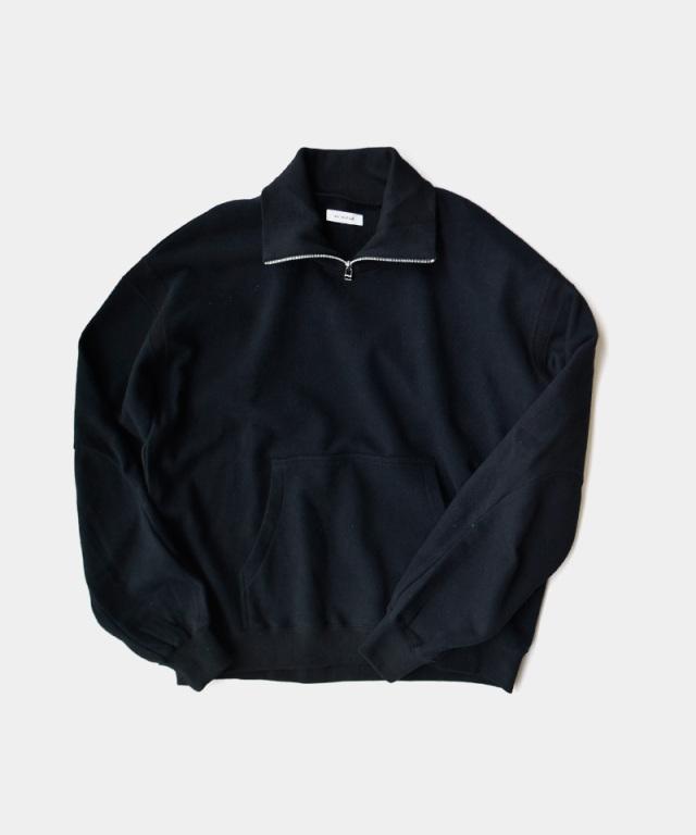 MATSUFUJI Ribbed Collar Sweat Shirt BLACK