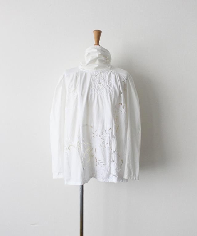MALION vintage big tie cutwork blouse WHITE-B