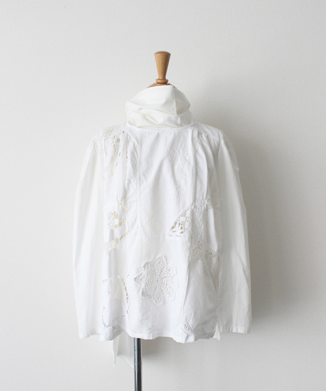 MALION vintage big tie cutwork blouse WHITE-C