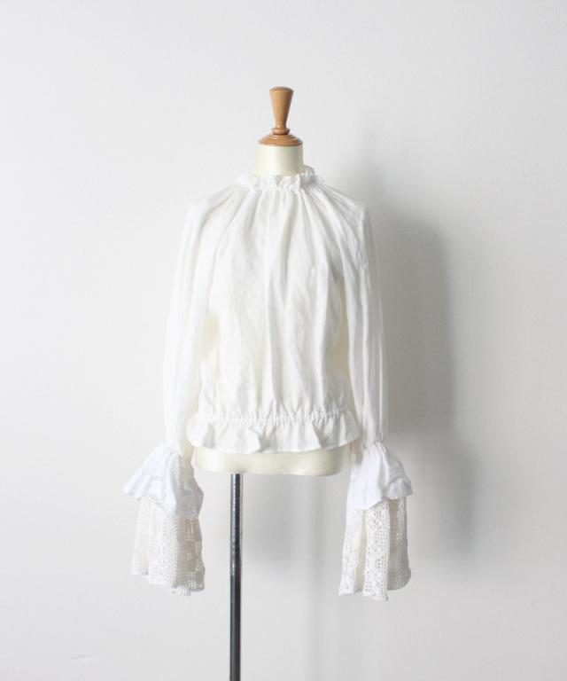 MALION vintage neck frill volume sleeve blouse WHITE-A