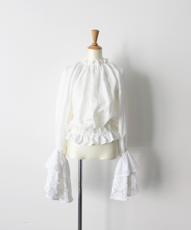 MALION vintage neck frill volume sleeve blouse WHITE-B