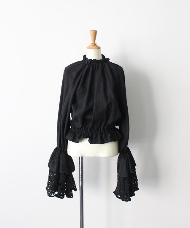 MALION vintage neck frill volume sleeve blouse BLACK-A