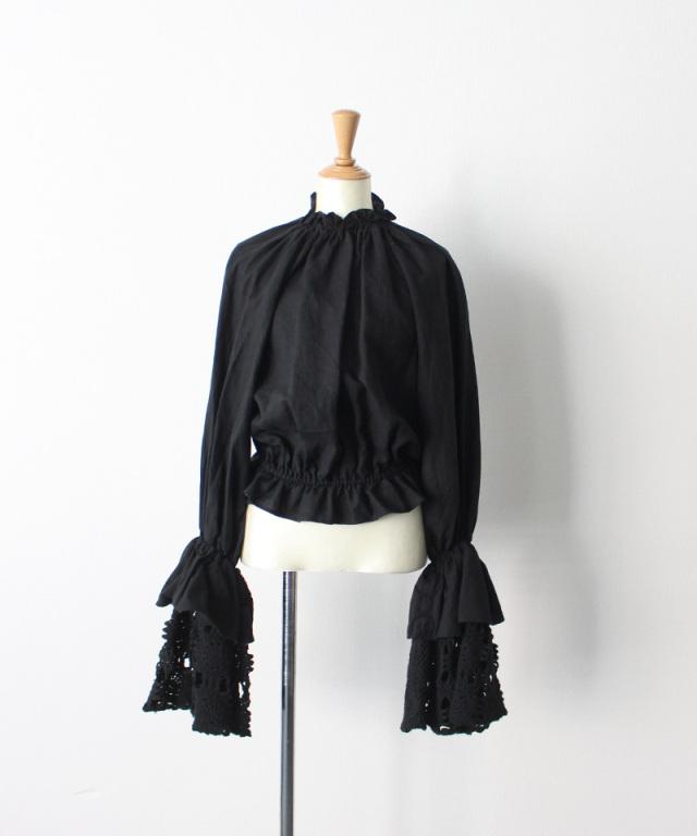 MALION vintage neck frill volume sleeve blouse BLACK-B