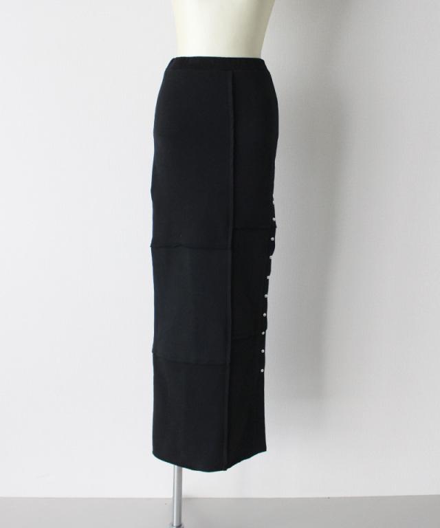 MALION vintage sweat slit lomg skirt BLACK