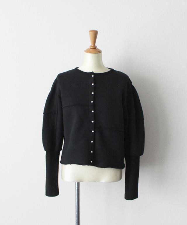 MALION vintage puffsleeve sweat cardigan BLACK
