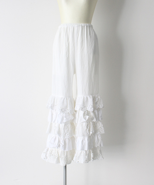 MALION vintage cutwork lace frill pants WHITE-A