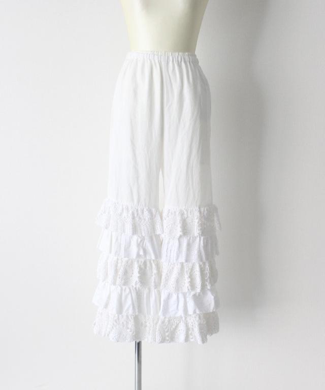 MALION vintage cutwork lace frill pants WHITE-B