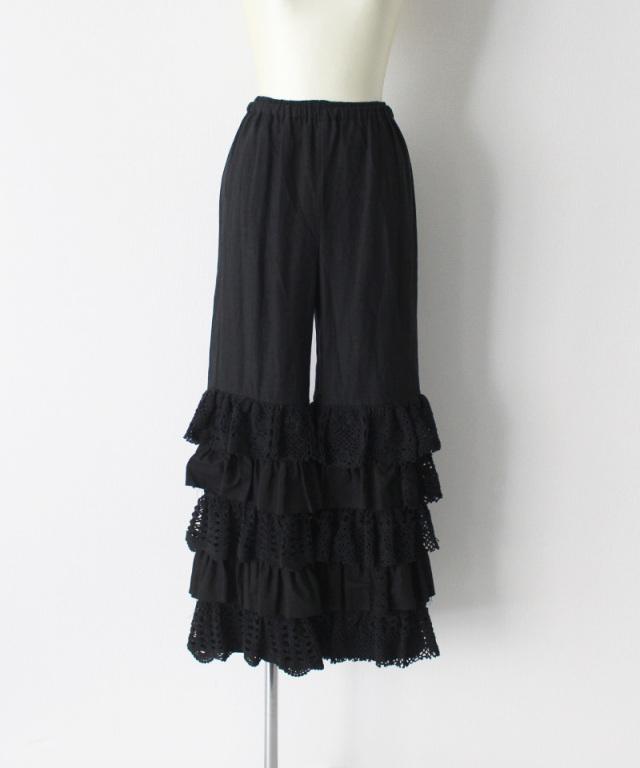 MALION vintage cutwork lace frill pants BLACK-A