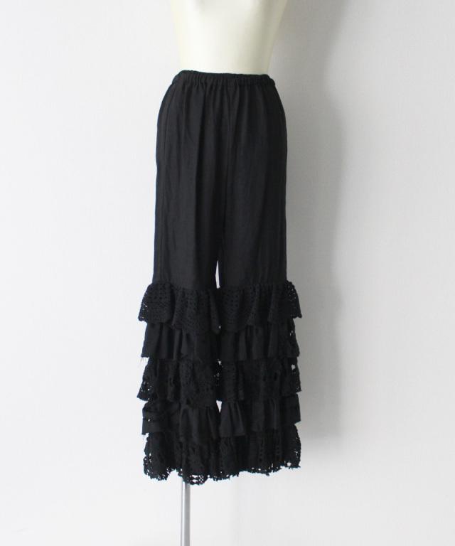 MALION vintage cutwork lace frill pants BLACK-B