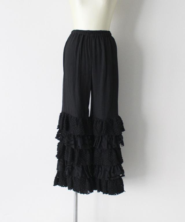 MALION vintage cutwork lace frill pants BLACK-C