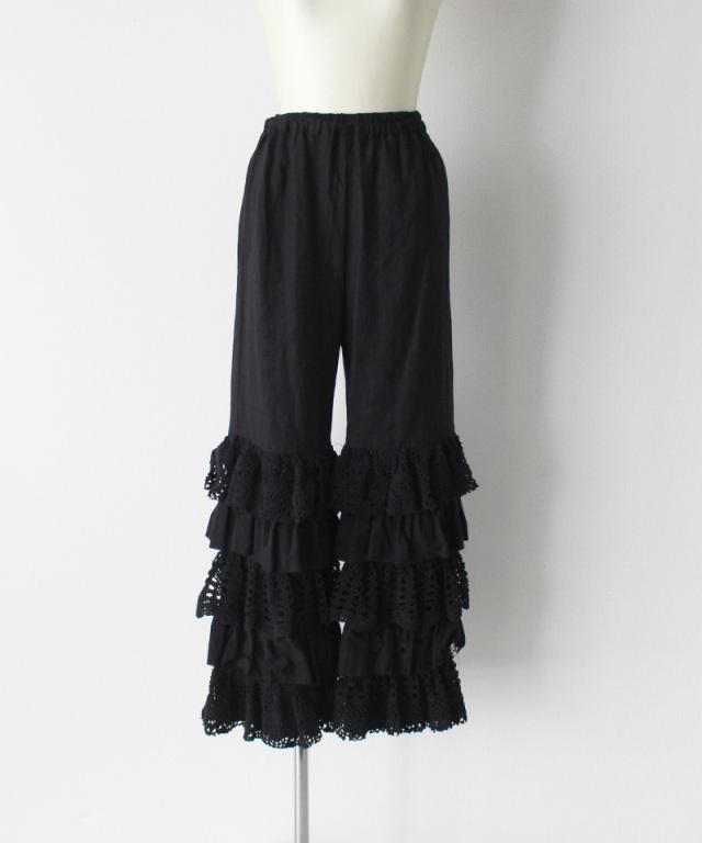 MALION vintage cutwork lace frill pants BLACK-D