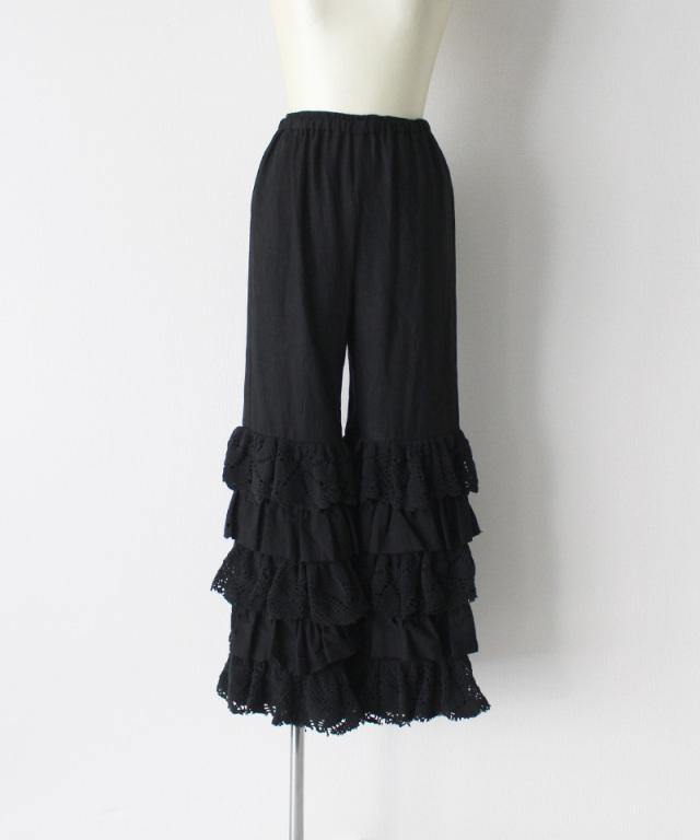 MALION vintage cutwork lace frill pants BLACK-E